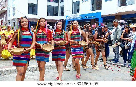 Cuenca, Ecuador-april 11,2019: Folk Dancers Represent Variety Of Ecuadorian Culture In Traditional D