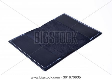Blue Handmade Leather Passport Cover Isolated On White Background. Cover Is Open. Stock Photo Of Lux