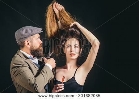 Hair style and hair stylist. Hair care. Trendy and stylish. Long hair. Fashion haircut poster
