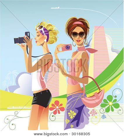 two girls with cameras on a abstract background
