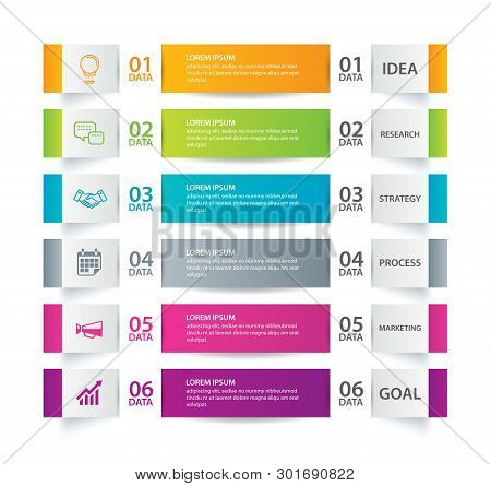 Infographics Tab In Horizontal Paper Index With 6 Data Template. Vector Illustration Abstract Backgr