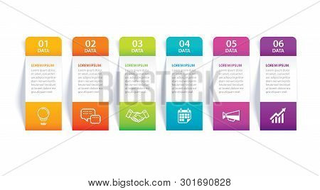 Infographics Tab In Vertical Paper Index With 6 Data Template. Vector Illustration Abstract Backgrou