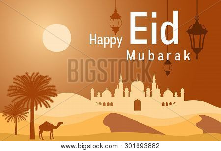 Mosque On Desert With Date Tree Camel Islamic Illustration Of Happy Eid Mubarak