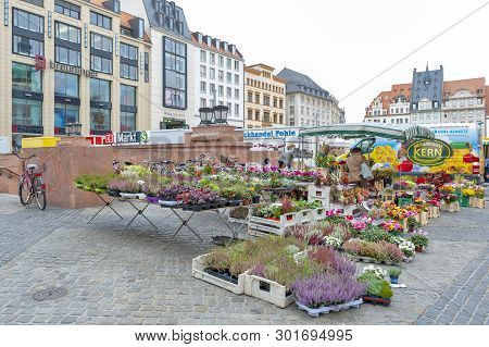 Leipzig, Germany - October 2018: Plants And Flowers Stalls At Marktplatz, The Market Square In City