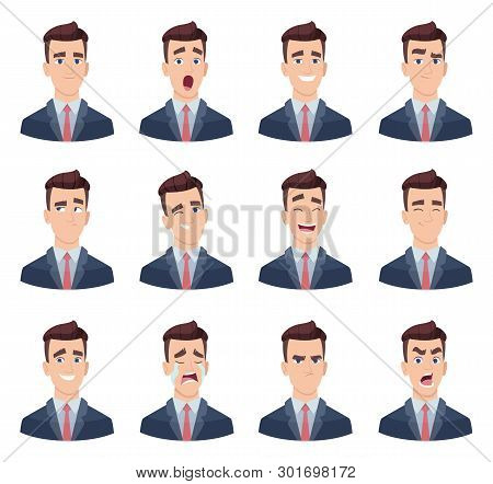 Businessman Emotions. Male Characters With Various Face Emotions Sadness Joy Hate Laughter Anger Smi