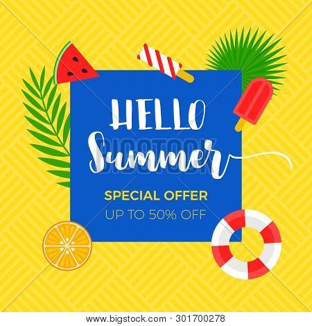 Summer Sale Banner With Summer Related Object, Vector Illustration