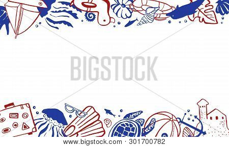 Rectangular Frame Template With Sealife And Beach Objects On Top And Bottom. Vector Outline Hand Dra