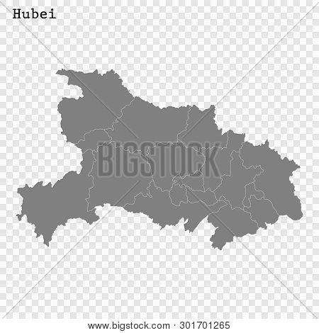 High Quality Map Of Hubei Is A Province Of China, With Borders Of The Divisions