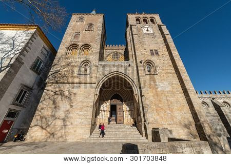 Evora, Portugal - Circa March 2019: Main Facade Of The Cathedral Dated In The Xii Century Dedicated