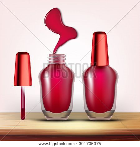 Vial Of Burundi Nail Polish Female Cosmetic Vector. Closed And Opened Glassy Container With Colorful