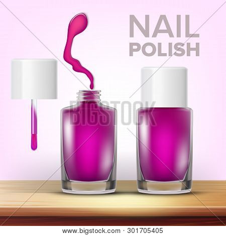 Vial Of Purple Nail Polish Female Cosmetic Vector. Closed And Opened Glassy Bottle, Colorful Drop An