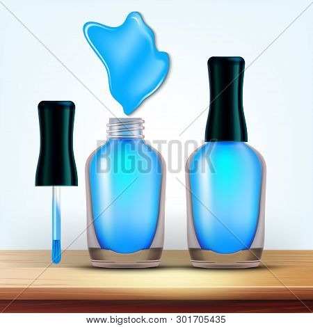 Vial Of Light Blue Nail Polish Cosmetic Vector. Elegant Closed And Opened Glassy Bottle Of Lacquer,