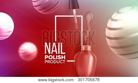 Bottle Of Rose Nail Polish Product Banner Vector. Glassy Container, Tassel, Blur And Striped Balls D