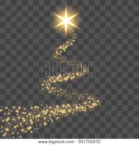 Star Trail Isolated Black Transparent Background. Gold Light Comet, Golden Glittering Sparkle. Twink