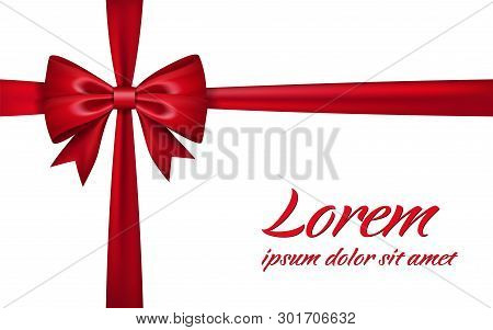 Ribbon Bow For Gift Isolated White Background. Red Satin Design Festive Frame. Decorative Christmas,
