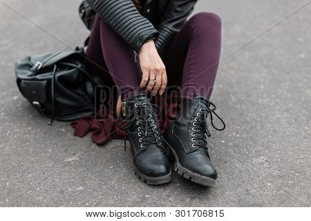 Fashion Women Clothes. Stylish Women's Shoes. Casual Design. Street Style. Close-up Of Female Legs.