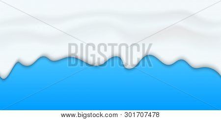 Creative Vector Illustration Of Yogurt Creamy Liquid Drips, Cream Melt Milk Splash Flowing Seamless