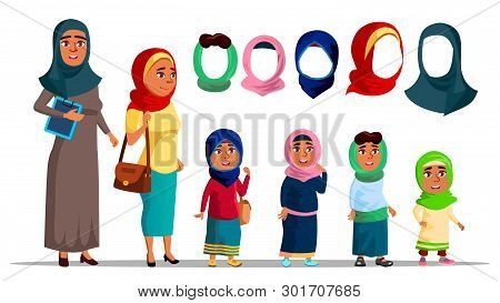 Arabian Characters Women Wearing Hijab Vector. Religion Muslim Adult Female And Little Girl Children
