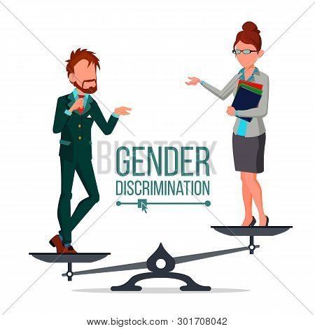 Gender Discrimination And Human Comparison Vector. Male And Female Standing On Judicial Scales Symbo