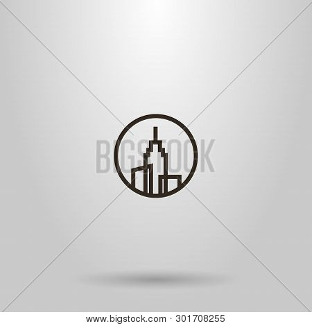 Black And White Simple Vector Line Art Sign Of Three High-rise Buildings With A Spire On The Roof In