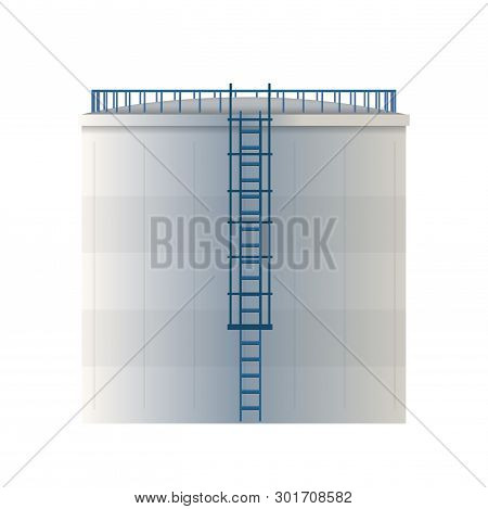 Creative Vector Illustration Of Water Tank, Crude Oil Storage Reservoir Isolated On Transparent Back