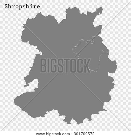 High Quality Map Of Shropshire Is A County Of England, With Borders Of The Districts