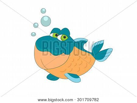 Little Fish Blowing Bubbles Of Air Vector Illustration