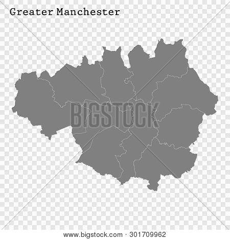 High Quality Map Of Greater Manchester Is A County Of England, With Borders Of The Districts