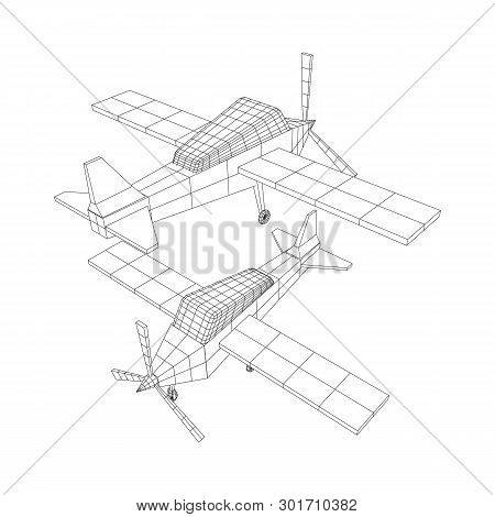 Plane Abstract Polygonal Wireframe Airplane. Travel Aircraft, Tourism And Vacation Concept. Wirefram