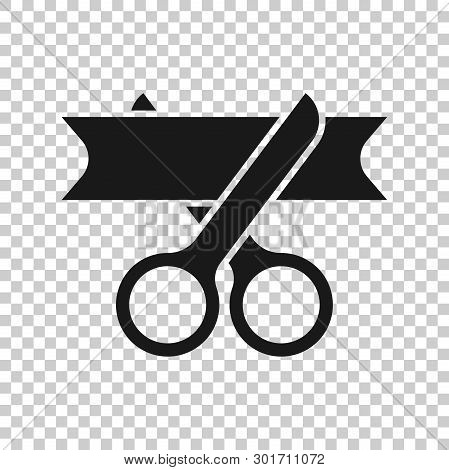 Scissors Icon In Transparent Style. Cutting Ribbon Vector Illustration On Isolated Background. Cerem