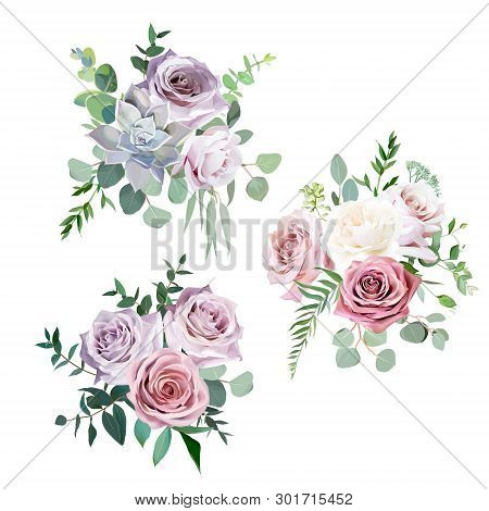 Dusty Pink, Creamy White And Mauve Antique Rose, Pale Flowers Vector Design Wedding Bouquets.eucalyp