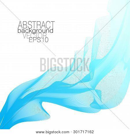 Light blue, turquoise flowing veil. Elegant abstract waveform. Line art vector design element, waving glowing curves. Wave pattern. White background. Template for invitation, leaflet, flyer, poster. EPS10
