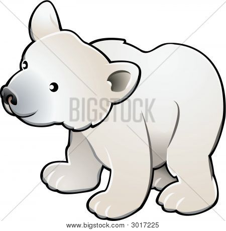 Cute Polar Bear Vector Illustration