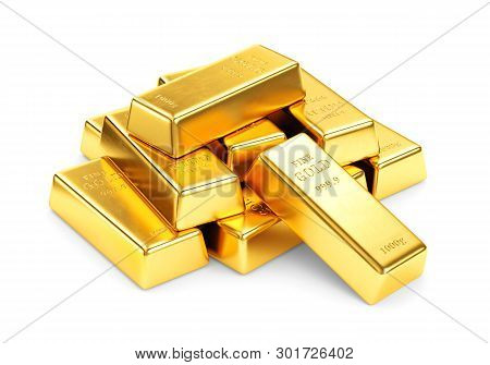 Gold Bars Pile Isolated On White Background. Financial Success, Business Investment And Wealth Conce