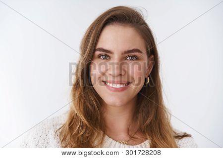 Headshot Charismatic Pleasant Friendly European Woman Short Chestnut Haircut Smiling Positive Feelin