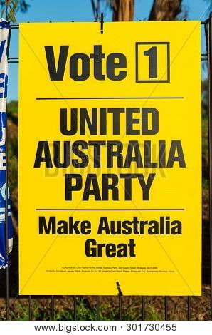 Melbourne, Australia - May 18, 2019: Poster Of The United Australia Party Of Clive Palmer In The Ele