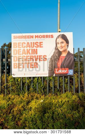 Melbourne, Australia - May 18, 2019: Posters Of Australian Labor Party Candidate Shireen Morris In T