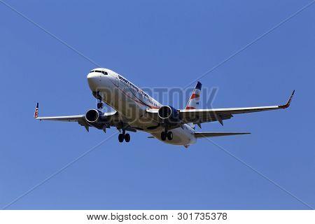 Borispol, Ukraine - May 18, 2019: Ok-tvo Smart Wings Boeing 737-800 Aircraft  On The Blue Sky Backgr