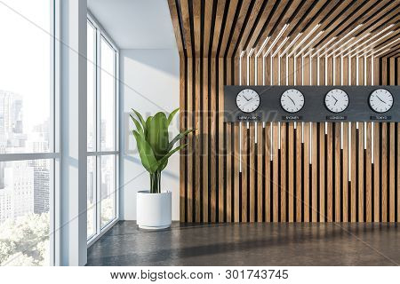 Empty White And Wood Office Hall With Clocks