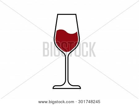Red Wine Glass Icon, Wineglass Logo, Glassware Icon Vector Art Illustration Isolated Or White Backgr