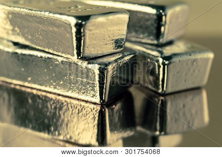 Precious Shiny Gold Bars. Background For Finance Banking Concept. Trade Precious Metals. Bullions.