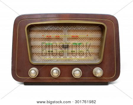 Old retro radio vintage. Old wooden retro style radio receiver vintage Radio, Speaker, Old, isolated