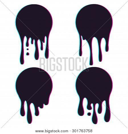 Set Of Dripping Circle Paint With Glitch Effect. Paint Drip Stickers Or Circle Labels. Ink Drop Spla