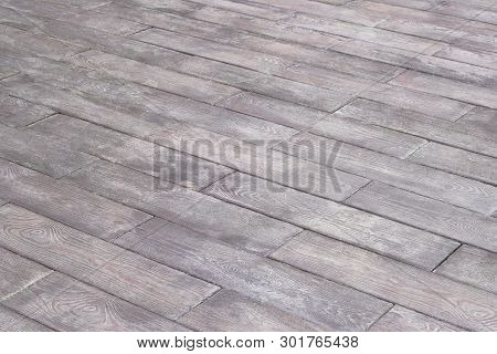 Gray, Wooden Floor With Diagonal Lines As Background. Empty Place For Text Or Objects. Wood Floor Pe