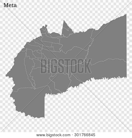 High Quality Map Of Meta Is A State Of Colombia, With Borders Of The Districts