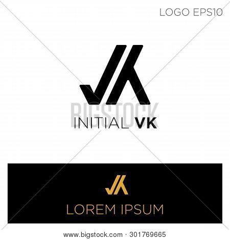Monogram Initial Vk, V, K Logo Template Black Color Vector Illustration