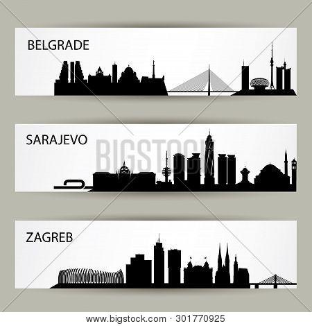 Balkan Cities Skylines - Vector Illustration - Vector