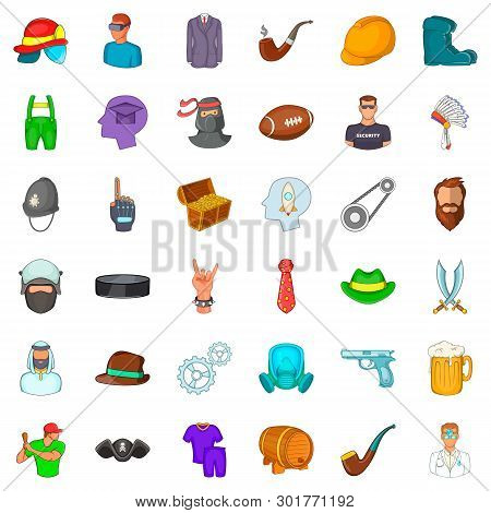 Working Personnel Icons Set. Cartoon Set Of 36 Working Personnel Icons For Web Isolated On White Bac