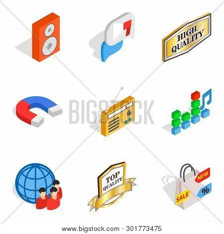 High Fidelity Icons Set. Isometric Set Of 9 High Fidelity Icons For Web Isolated On White Background