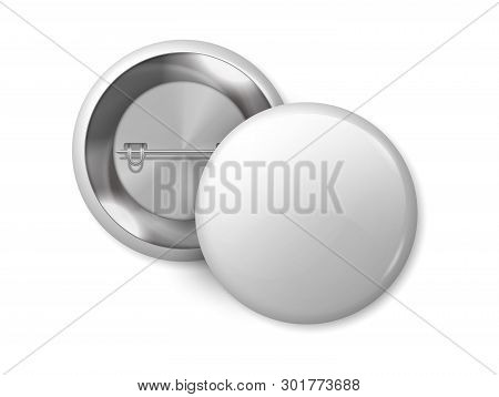 White Round Badge Mockup. Pin Button Blank Merchandise, Realistic 3d Metal Labels Design Template Si